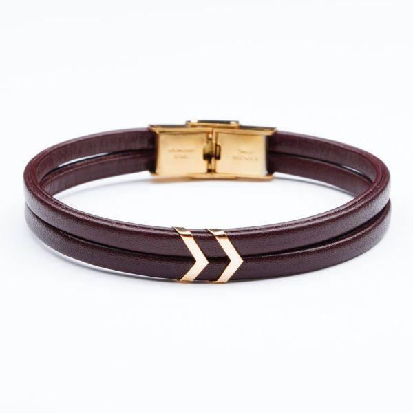 دستبند چرم و طلای M700