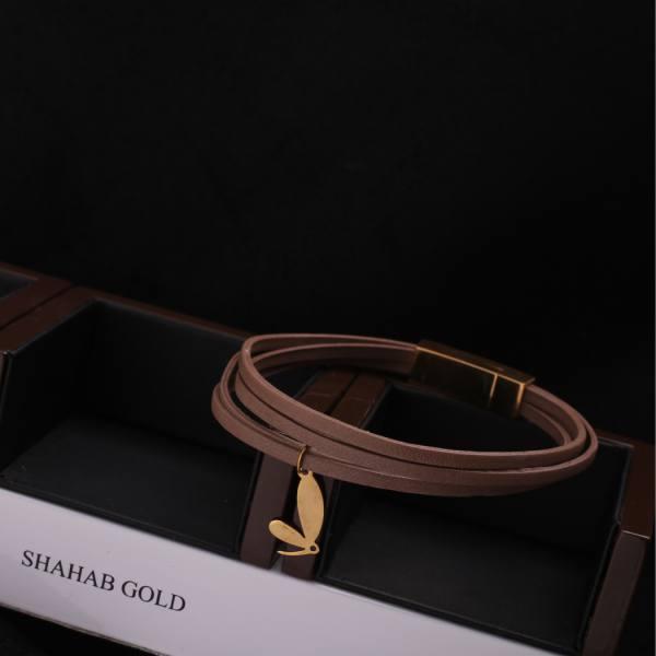 دستبند چرم و طلا D200