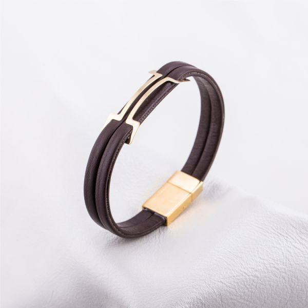 دستبند چرم و طلا N900