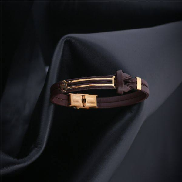 دستبند چرم و طلا مردانه M400