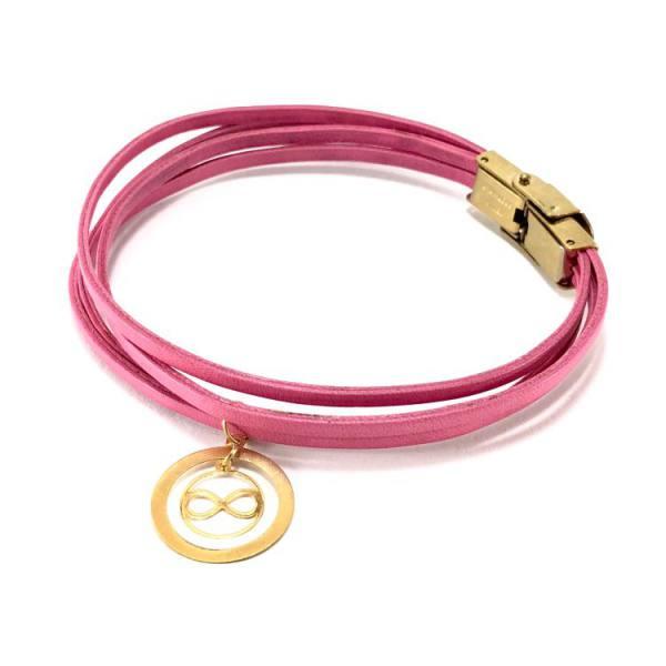 دستبند چرم و طلا D400