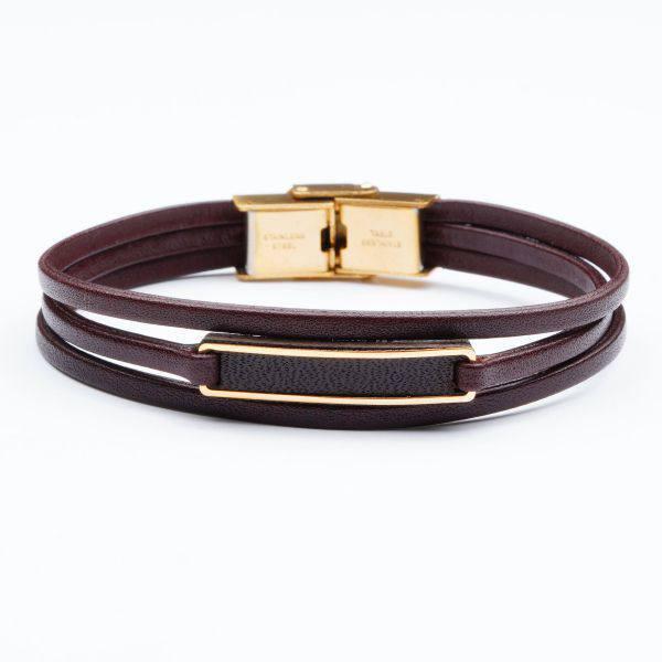 دستبند چرم و طلا V1004