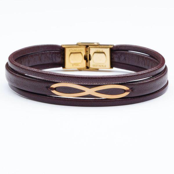 دستبند چرم و طلا مردانه B500G