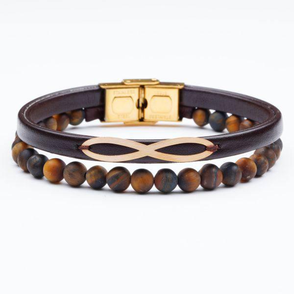 دستبند چرم و طلا S18
