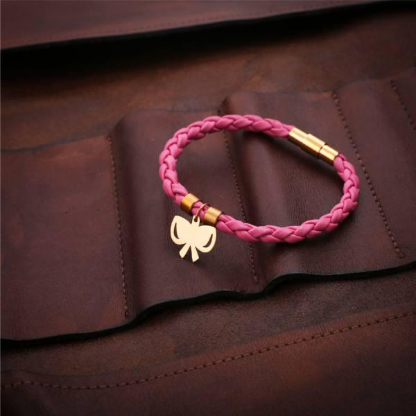 دستبند چرم و طلا B100-M
