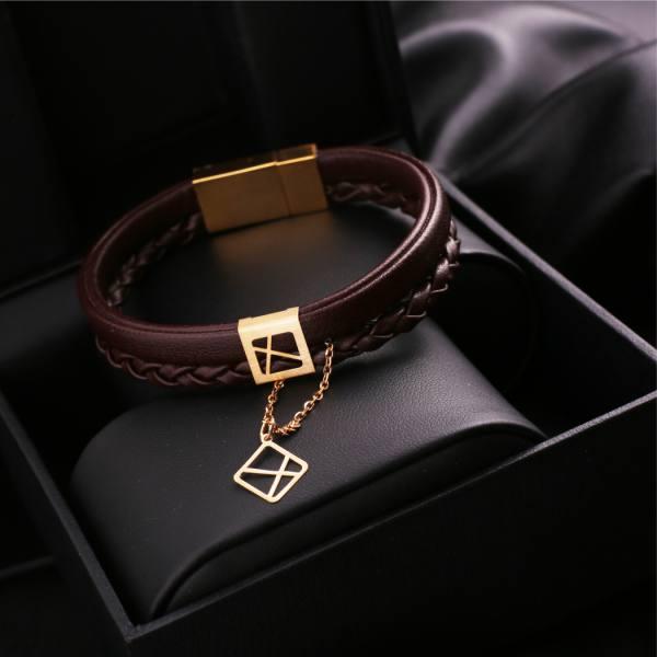 دستبند چرم و طلا B500-K