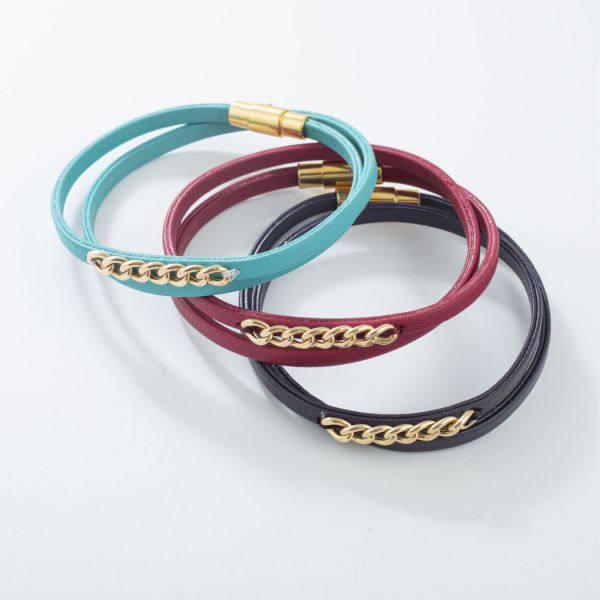دستبند چرم و طلا v902