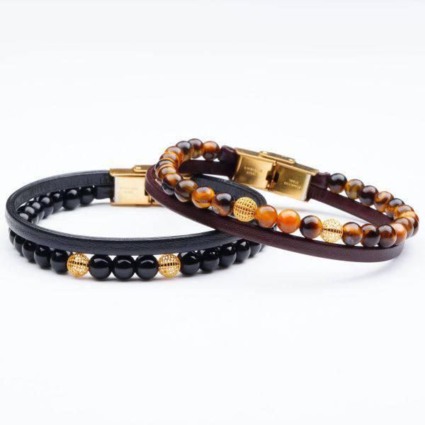 دستبند سنگ و طلا s01