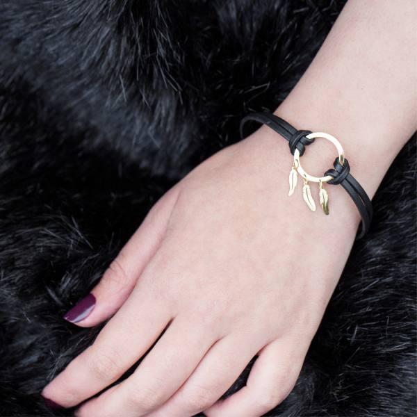 دستبند چرم و طلا N100