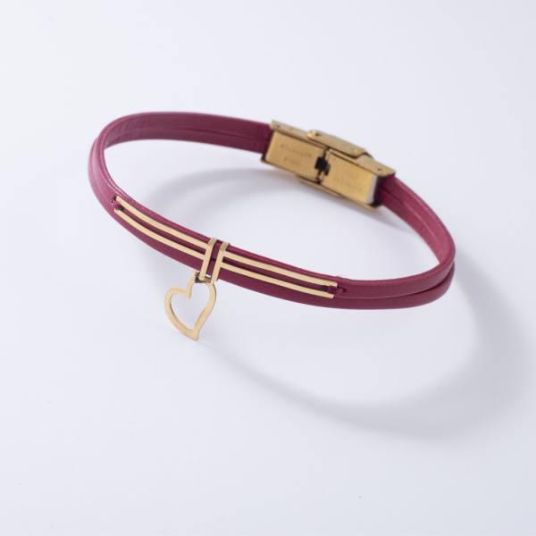 دستبند چرم و طلا V700