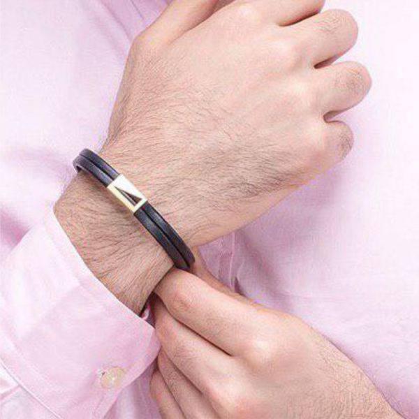 دستبند چرم طلا M800