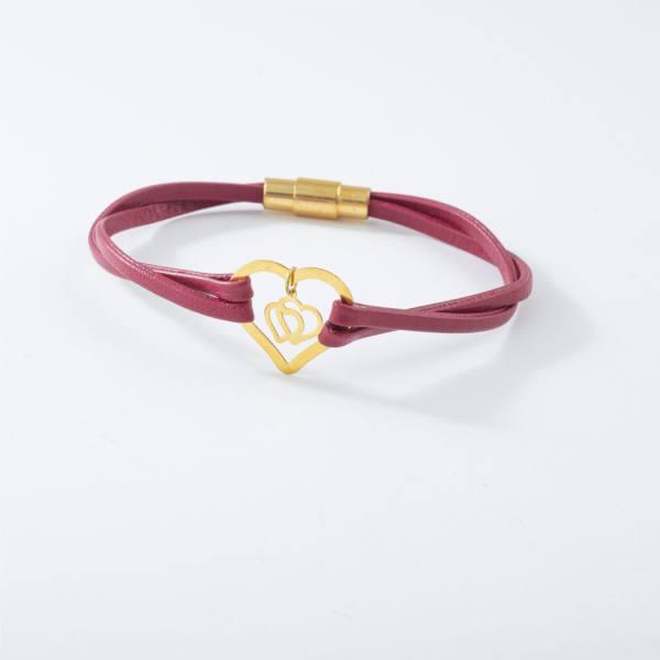 دستبند چرم و طلا V1003