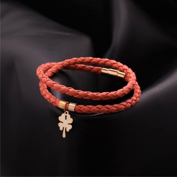 دستبند چرم و طلا B200-M