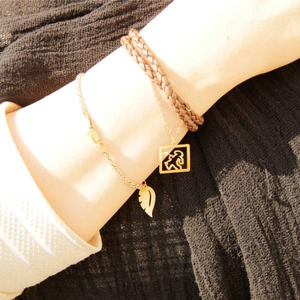 دستبند چرم و طلا B400