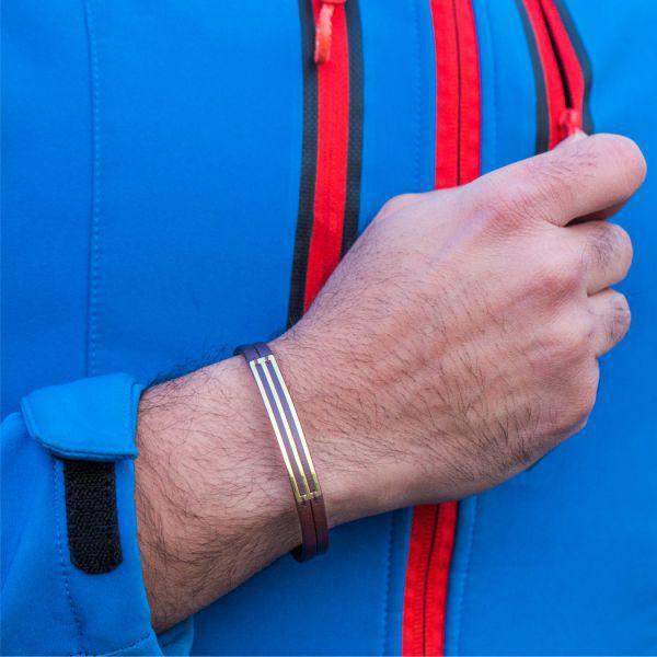 دستبند چرم و طلا M1000