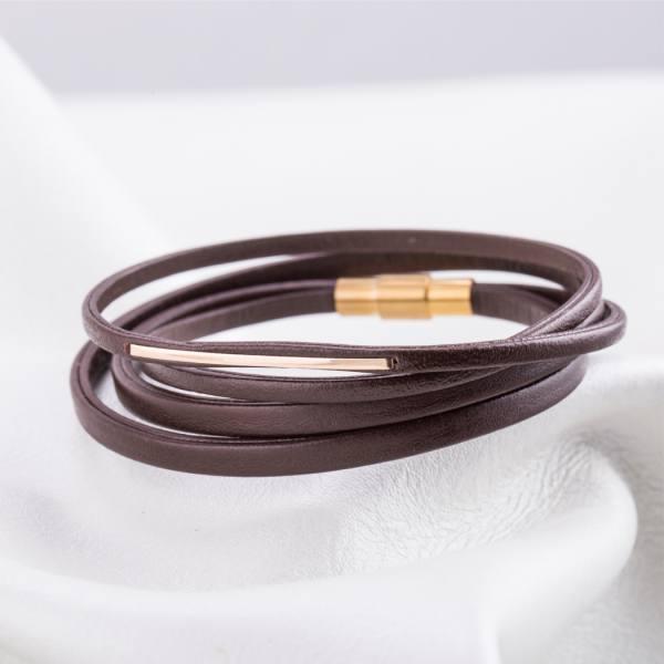 دستبند چرم و طلا N300