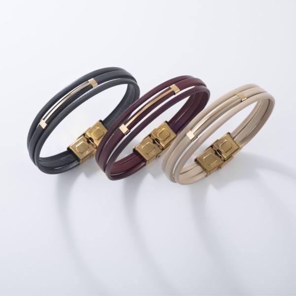 دستبند چرم و طلا V100