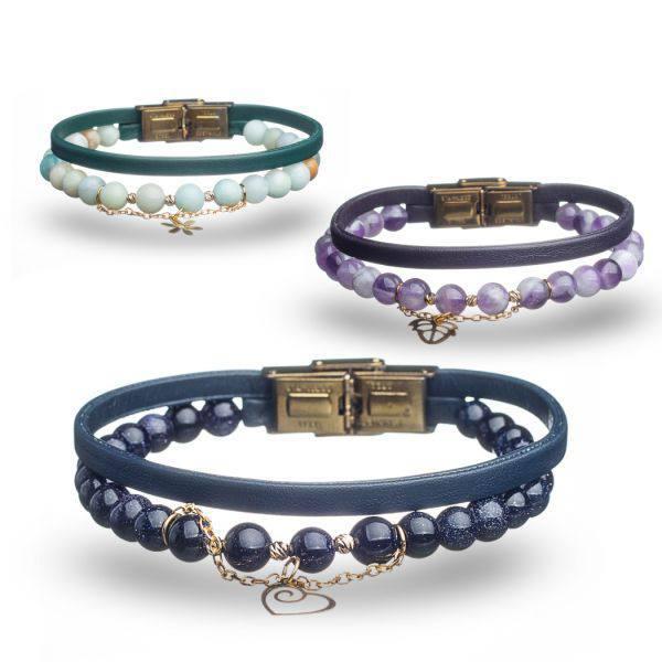 دستبند سنگ و طلا s13