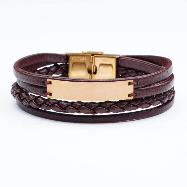 دستبند چرم و طلا b600