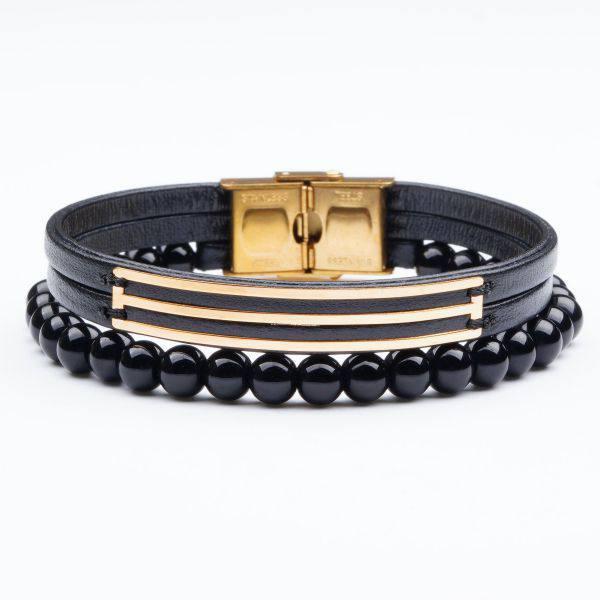 دستبند سنگ و طلا s07
