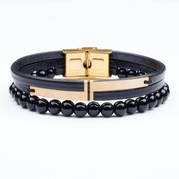 دستبند سنگ و طلا s08