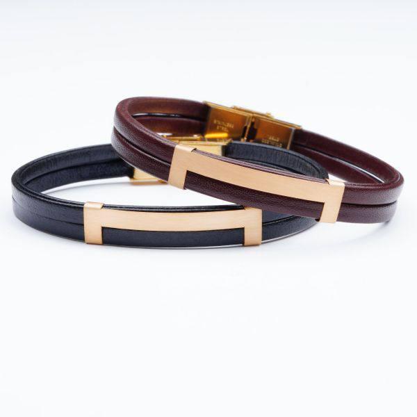 دستبند چرم و طلا V600