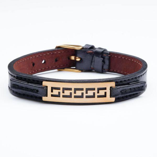 دستبند چرم و طلا مردانه A300