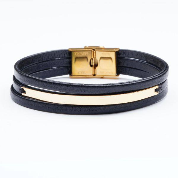 دستبند چرم و طلا M500