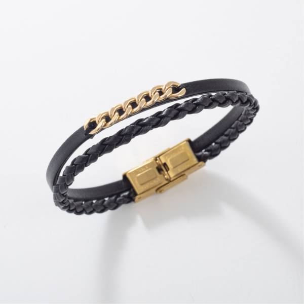 دستبند چرم و طلا v900