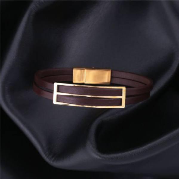 دستبند چرم و طلا c100