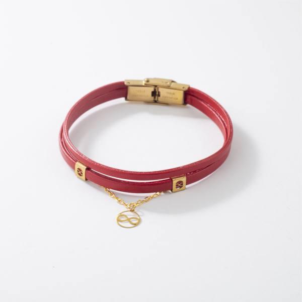 دستبند چرم و طلا V1002