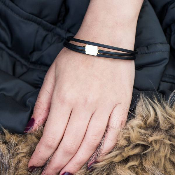 دستبند چرم و طلا N1004