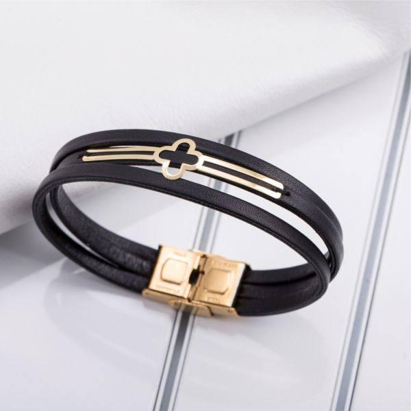 دستبند چرم و طلا N1003